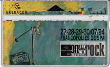 Telecard Belgacom 20 on line with rock Francofolies  Spa 27-28-29-30/07/94 445A