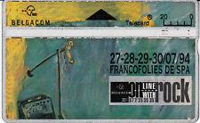 Telecard Belgacom 20 on line with rock Francofolies  Spa 27-28-29-30/07/94 445A