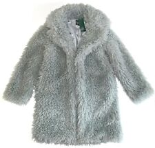 NWT Wild Fable Women's Open Front Collared Faux Fur Jacket Sage Grey Select Size