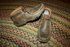 Twisted X Casual Shoes Womens Leather Driving Moccasin Bomber WDM0001 Size 7