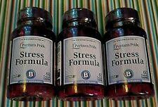 3 Bottles 60 Caplets STRESS B COMPLEX Pills VITAMIN C & E IMMUNE Puritan's Pride