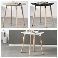 Halo Round Dining Table Black White Oak Retro Design Beech Wood Legs Office
