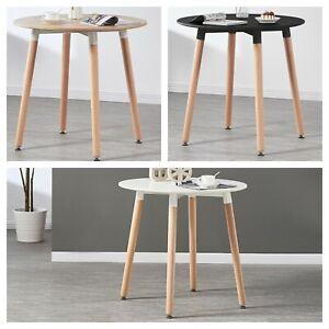 Halo Round Dining Table Black White Oak Retro Design Wood Legs - 80cm Diameter