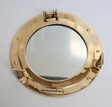 "12"" Brass Porthole Nautical Maritime Ship Boat Wall Mirror Home Decor"