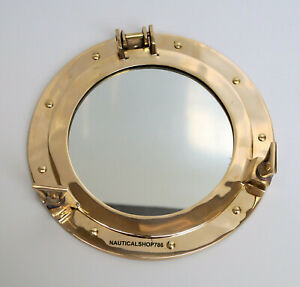 "12"" Brass Porthole Nautical Maritime Ship Boat Wall Mirror Home Decor"