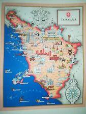 '50 vecchia cartina TOSCANA FIRENZE LUCCA PISA LIVORNO GROSSETO