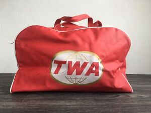 TWA Flight Bag 60s Vtg Trans World Airline Vinyl Carry On Duffle Luggage Travel
