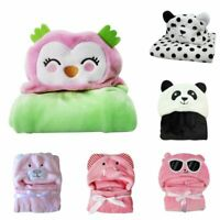 Newborn Infant Flannel Hooded Blanket Bath Towel Soft Baby Kids Animal Bathrobe