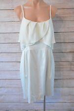 REVIEW Dress Sz 14 Large 12 white cream shift blouson dress