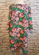 River Island Neon Pink Green Purple Floral Shift Dress Size 16 uk women's ladies