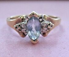 Vntg BEAUTIFUL Marquise Light Blue Stone Ring Real 10K Yellow White Gold sz7.25