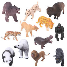 1Pc Plastic Zoo Animal Figure Model Tiger Leopard Hippo Giraffe Kids Toy