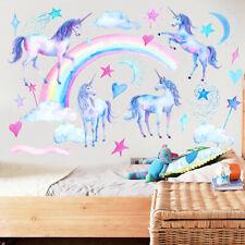 Unicorn wall stickers 3D vinyl horses decor for kids room cartoon horses gift