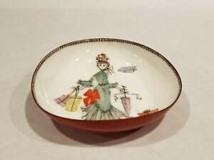 Vintage Steinbock Email Handmade Austria Enamel Dish Woman w/gifts umbrella 4x4