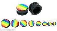 New Rainbow Screw Fit On Logo Plug / Tunnel / Ear Stretcher Expander