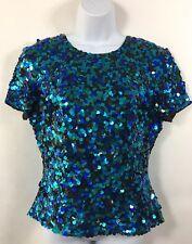Vtg Laurence Kazar Sequin Top Medium Mermaid Blue Green Sparkle Short Sleeves