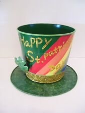 METAL HAPPY ST.PATRICKS DAY LEPRECHAUNS HAT CONTAINER ORNAMENT DECORATION