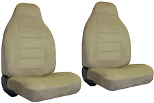 Tan Quilted Velour Encore High Back Bucket Car Truck SUV Seat Covers #Y