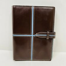 Franklin Covey 365 Brown Blue Faux Leather Strap Closure 6 Ring Planner 6x8