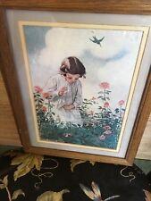 MAGICAL Old JESSIE WILLCOX SMITH Art Print Girl Rose Garden Finds Spider