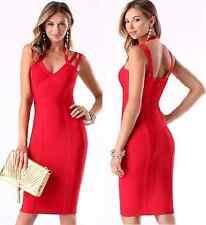 NWT bebe red deep v neck 3 straps bandage club midi sexy top dress XS 0 2 club