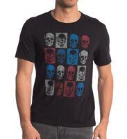 John Varvatos Star USA Men's Short Sleeve Skull Boxes Graphic Crew T-Shirt Black