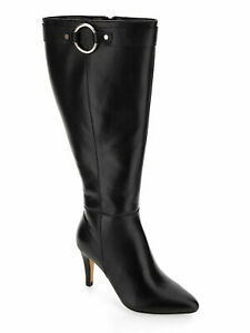 Womens Knee High Boots Size 9 Extra Wide Calf Black Leather High Heeled Zip NEW