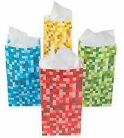 Pack of 12 - Pixel Blocks Paper Party Bags