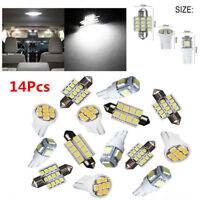14Pcs White LED Interior Package Kit For T10&31mm Map Dome License Plate Light