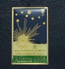Olympic Pin ~Poster Pin~St. Moritz, Switzerland 1948~1996 Atlanta~NEW on CARD