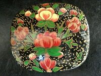 VINTAGE Rare Small Hand Painted PAPER MACHE Trinket  Box with Lid Made in INDIA