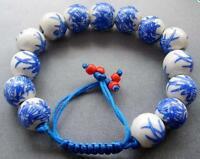 12mm Chinese Porcelain Ceramic Beads Adjustable Bracelet Hand Woven Bamboo Leaf