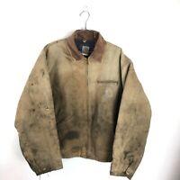 Carhartt Jacket Size 2XL XXL Mens Duck Canvas Blanket Lined Barn Coat Vtg USA