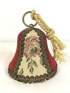 VTG Musical Christmas Ornament Bell Red Gold Velvet WEST GERMANY Works