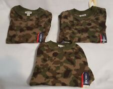 3 New Boys Cherokee Green Camouflage Long Sleeve Thermal Shirt Top Size XS 4-5