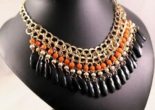 Tri-Colored Alloy Dangle Statement Necklace w/Free Jewelry Box and Shipping