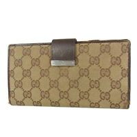 Auth GUCCI GG Canvas Leather Double Snap Bifold Long Wallet Purse 18367bkac