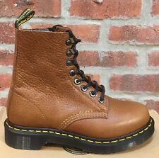 DR. MARTENS 1460  TAN BRUN CLAIR ZIPPED NATURESSE  LEATHER  BOOTS SIZE UK 9