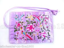 SILK JEWELRY TRAVEL BAG Roll Case Pouch Carrying Silk Brocade Flower Lavender