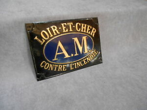 Vintage FRENCH Tole INSURANCE Plaque : A.M