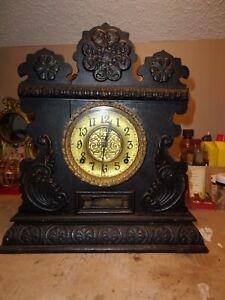 Antique Ingraham Black Gothic Look Shelve Clock-Runs & Strikes Fine