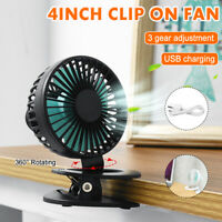 Mini Clip On Fan 360° Rotating Cooling Fan 3 Gear Adjustment Cooling Fan
