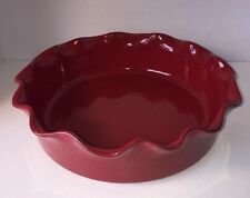"""RARE Artistic Accents Made Portugal Burgundy Red Fluted Oven Bowl Pie Plate 12"""""""