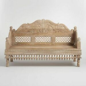 Made To Order Indian Hand Carved Mango Wood Lal Bagh Mughla Daybed Natural Color