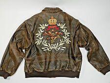 Vintage Flight Leather Bomber Jacket Womens Large