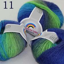 AIP Soft Cashmere Wool Colorful Rainbow Shawl DIY Hand Knitting Yarn 50grx3 11