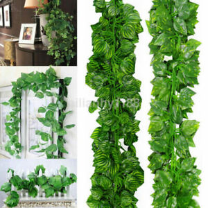 7pcs Artificial Hanging Plant Leaf Fake Foliage Ivy Vine Garland Leaves Wreath