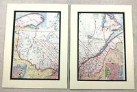 1920 Antik Aufdrücke Karte von Quebec Kanada Montreal Labrador Halbinsel Stadt