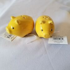 "Grasslands Road Pig Salt Pepper Shaker Set Yellow 1"" Wide"