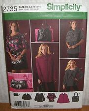 Womens/Misses Top Tunic Cape HandBags Sewing Pattern/Simplicity 2735/SZ 6-14/UCN
